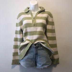 Vintage 90s Green Striped Quarter Zip Sweater